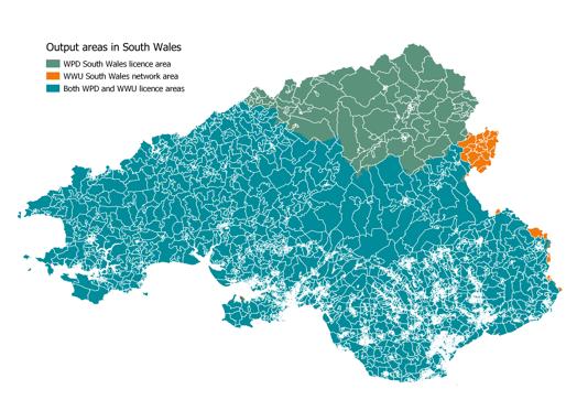 WPD WWU South Wales OA map - map and key